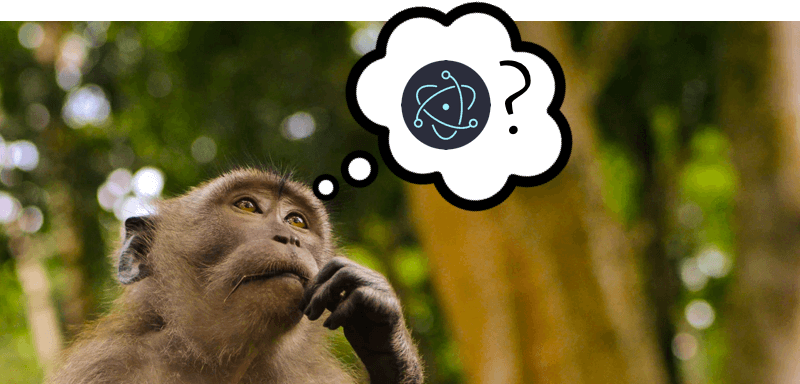 A monkey in a thoughtful pose with a thought bubble above it that contains the Electron.js logo and a question mark