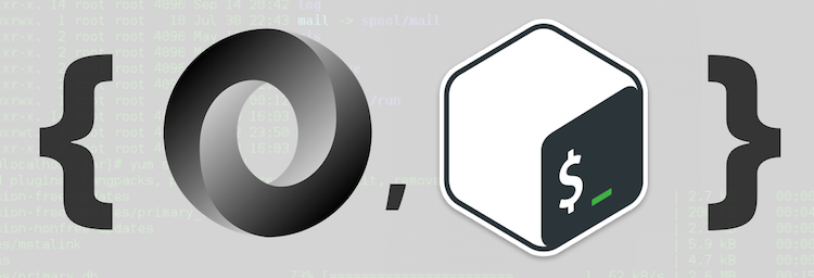The logos for bash and JSON next to each other